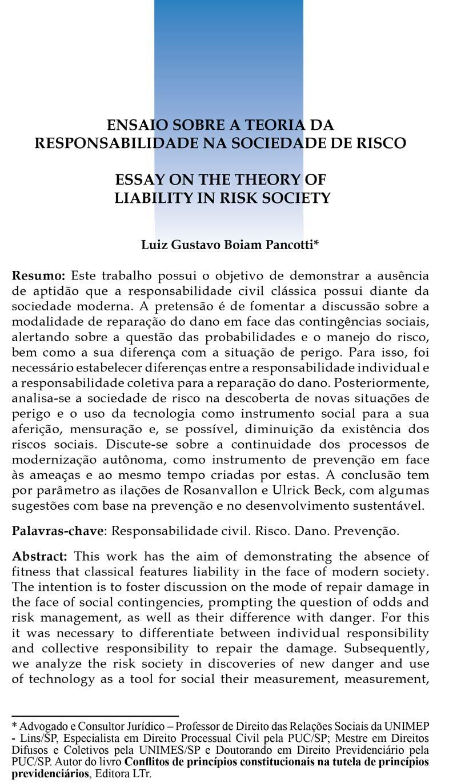 Ensaio sobre a Teoria da Responsabilidade na Sociedade de Risco
