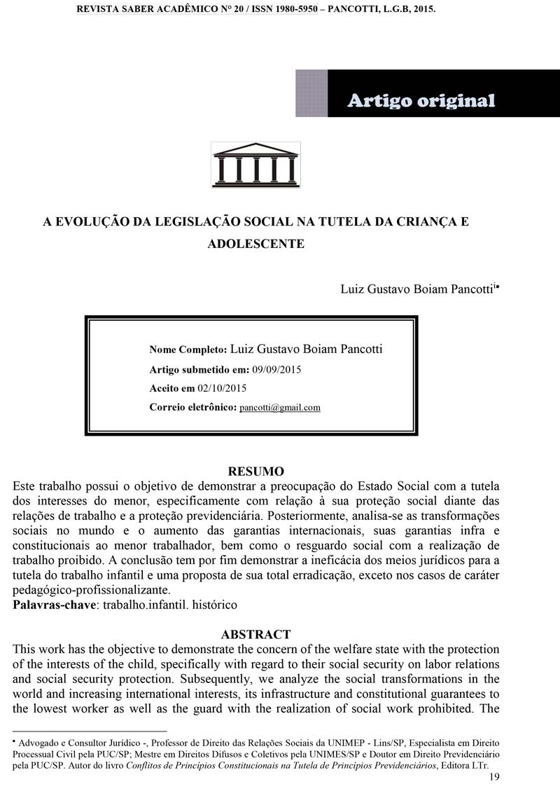 A Evolução da Legislação Social na Tutela da Criança e  Adolescente